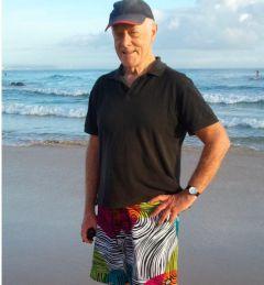 Des Walsh in new Diamond Dobby board shorts, Rainbow Bay