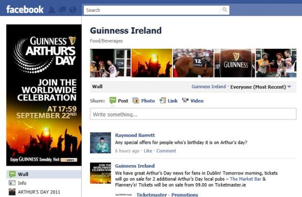 Guinness fan page and Arthur's Day messages