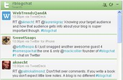 Screenshot #blogchat stream on Hootsuite