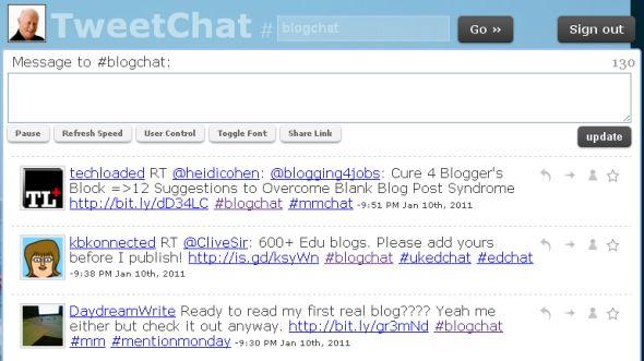 screenshot #blogchat stream on Tweetchat