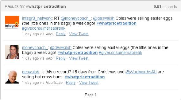 Screenshot illustrating use of hashtag on Twitter