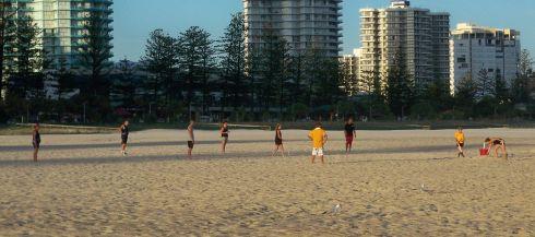 beach cricket, Australia Day 2010, Coolangatta Beach - picture copyright Des Walsh