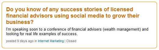 Screenshot of question on LinkedIn Answers about financial advisors and social media