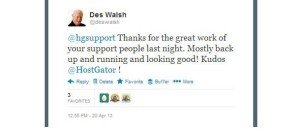 HostGator kudos tweet