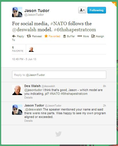 Twitter: NATO uses Des Walsh social media strategy framework