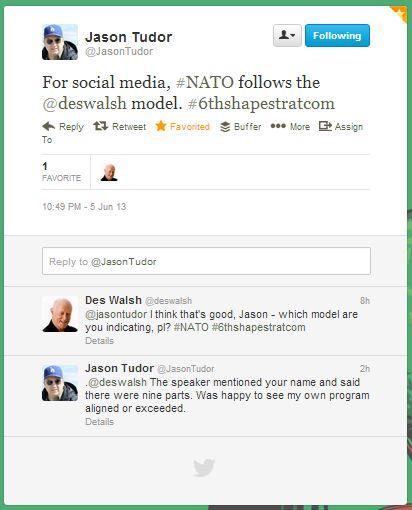 Twitter: NATO uses Des Walsh social media strategy framework
