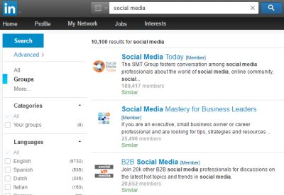 LinkedIn Groups Search Result